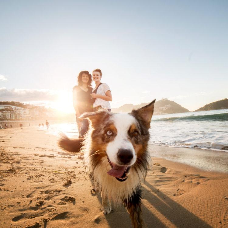 chicas girls woman mujer retrato portrait reportaje fotografico fotografo profesional professional perro dog playa beach donostia san sebastian pareja couple lgtb atardecer sunset